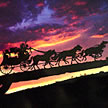 Stagecoach and Sunset Scene